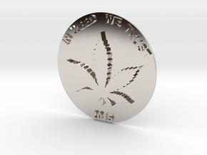 Marijuana Coin in Rhodium Plated Brass