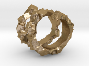 Ring of Cubes No.3 in Polished Gold Steel