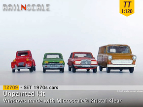 4x 1970s cars (SET A - TT 1:120) in Smooth Fine Detail Plastic