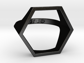 Hexagon Ring - Sz5 in Matte Black Steel