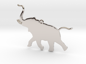 Trumpeting Elephant in Rhodium Plated Brass