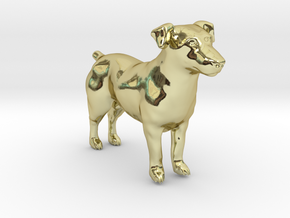 Black & White Jack Russell Terrier in 18k Gold Plated Brass