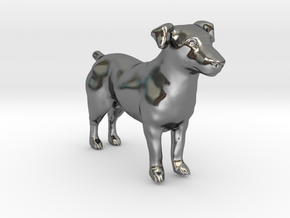 Black & White Jack Russell Terrier in Polished Silver
