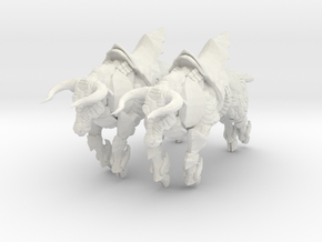 Bronze Bull Rev5 - Pose 2 in White Natural Versatile Plastic