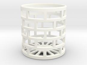 DRAW lamp - oil lamp holder tall mesh screw attach in White Processed Versatile Plastic