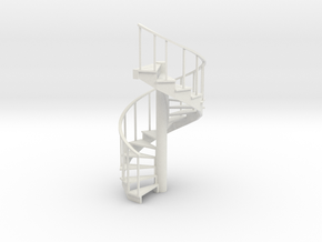 10' Spiral Stair Left Railing 1:48 in White Natural Versatile Plastic