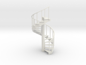 10' Spiral Stair Right Railing 1:48 in White Natural Versatile Plastic