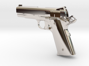 1:12 scale 1911 Pro Carry pistol in Rhodium Plated Brass
