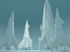 Earth War Rocket Fleet in White Natural Versatile Plastic