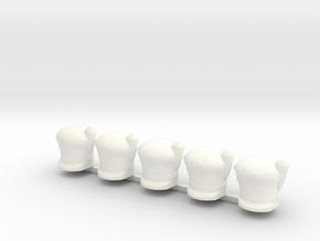 5 x Scots Hat in White Processed Versatile Plastic