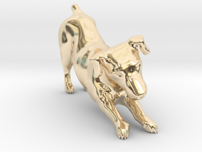 Stretching Jack Russell Terrier in 14k Gold Plated Brass
