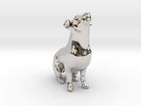 Howling Jack Russell Terrier in Rhodium Plated Brass