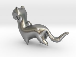 New Zealand Stoat charm in Natural Silver