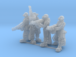 Female Stealth Gang with Automatic Rifles in Smooth Fine Detail Plastic