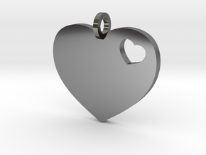Heart Pendant Simple w/ring in Fine Detail Polished Silver
