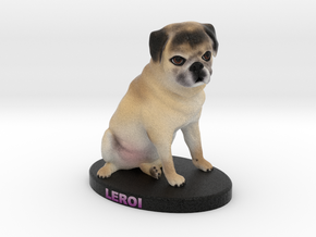 Custom Dog Figurine - Leroi in Full Color Sandstone
