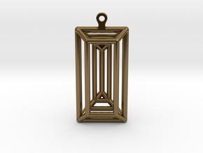 3D Printed Diamond Baguette Cut Earrings by bondsw in Polished Bronze