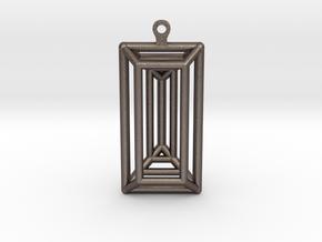 3D Printed Diamond Baguette Cut Earrings by bondsw in Polished Bronzed Silver Steel