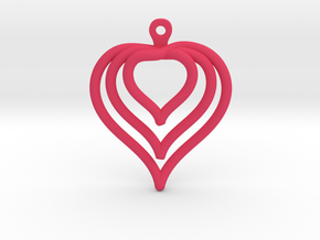 3D Printed Wired Love Yourself Heart Earrings in Pink Processed Versatile Plastic