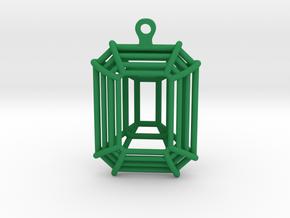 3D Printed Diamond Emerald Cut Earrings (Small)  in Green Processed Versatile Plastic