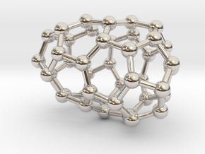 0184 Fullerene C42-1 c2 in Rhodium Plated Brass