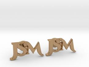 Monogram Cufflinks JSM in Polished Brass
