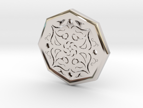 Octagon Rune Amulet in Rhodium Plated Brass