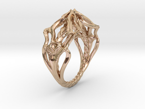 Ring Nouveau01 V02 in 14k Rose Gold Plated Brass