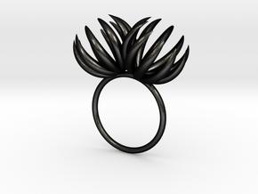 Double Bloom Ring size P1/2 in Matte Black Steel