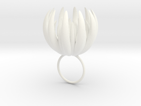 Large Blooming Ring in White Processed Versatile Plastic