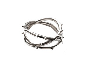 Rose Thorn Ring - Sz.9 in Fine Detail Polished Silver