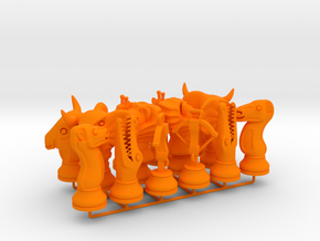 Set Chess - Timur and Tamerlane Pieces in Orange Processed Versatile Plastic
