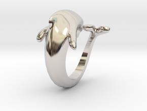 Dolphin Ring size 7- 17 mm diameter in Platinum