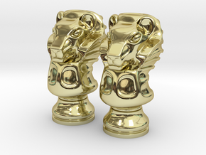 Pair Lion Chess Big / Timur Asad Piece in 18k Gold Plated Brass