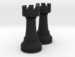 Pair Rook Chess Big Solid | TImur Rukh in Black Natural Versatile Plastic