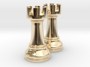 Pair Rook Chess Big Solid | TImur Rukh in 14K Yellow Gold