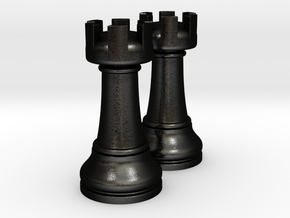 Pair Rook Chess Big Solid | TImur Rukh in Matte Black Steel