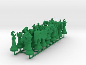 Timur/Tamerlane Pawns - Shatranj Kamil in Green Processed Versatile Plastic