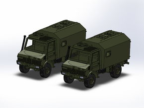 2x Unimog U1300 mit Koffer 1:160 in Smooth Fine Detail Plastic