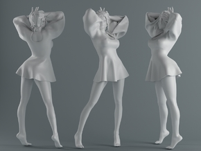 Skirt Girl-003 scale 1/10 in White Processed Versatile Plastic