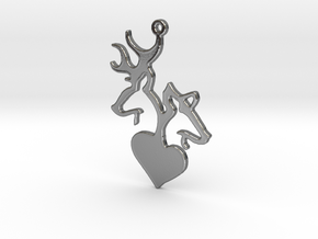 Deer and Doe pendant in Polished Silver