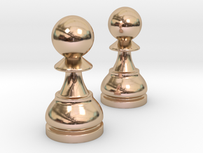Pair Pawn Chess / Timur Pawn of Pawns in 14k Rose Gold Plated Brass
