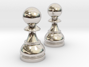 Pair Pawn Chess / Timur Pawn of Pawns in Rhodium Plated Brass