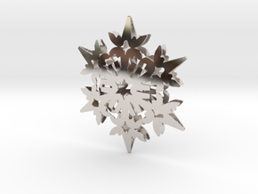 Wings Snowflake - 3D in Rhodium Plated Brass