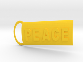 Peace Keyring in Yellow Processed Versatile Plastic