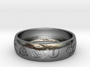 Size 7 FOUR SYMBOLS A  in Fine Detail Polished Silver