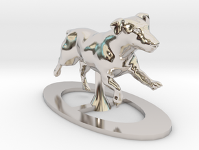 Running Jack Russell 1 in Rhodium Plated Brass