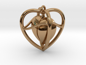 Heart Pendant  in Polished Brass