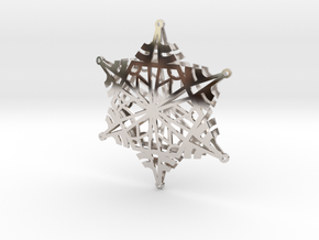 Arcs Snowflake - 3D in Rhodium Plated Brass