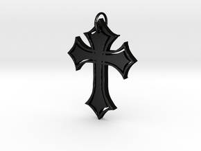 Christian Cross Pendant in Matte Black Steel